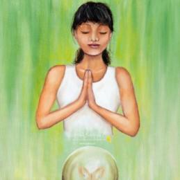 schilderij sterrenbeeld maagd yoga