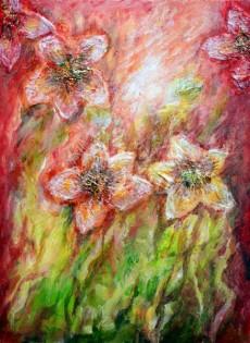 schilderij abstract bloemen
