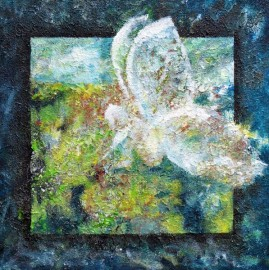 engel elfje zittend in het gras vedic art schilderij