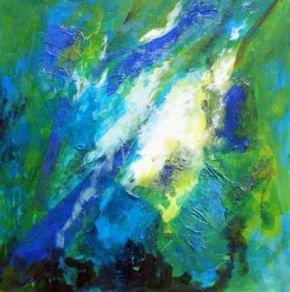 abstract schilderij groen blauw
