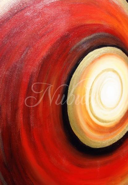 abstracht Schilderij rood bruin goud