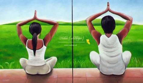 Tweeluik yoga man vrouw