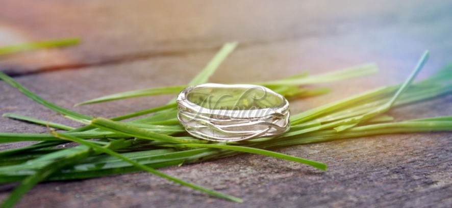 zilveren gras ring